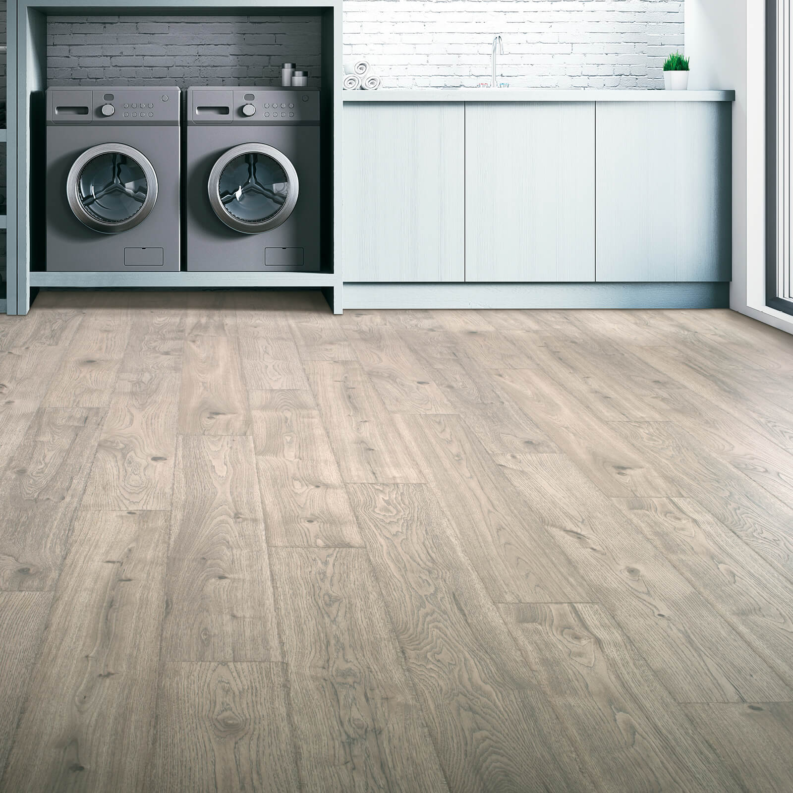 Revwood flooring in laundry room | Hughes Floor Coverings Inc