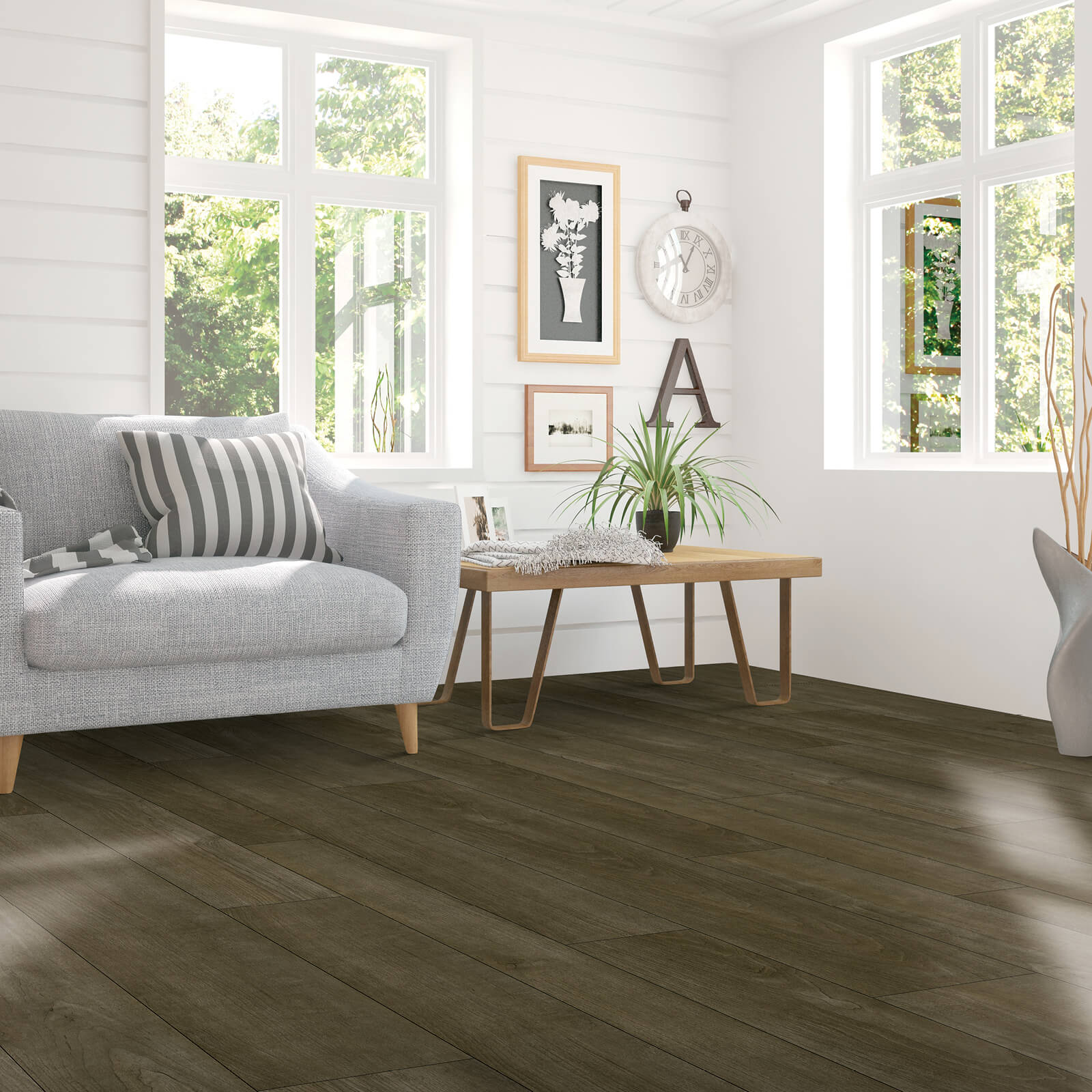 Pergo flooring in living room | Hughes Floor Coverings Inc
